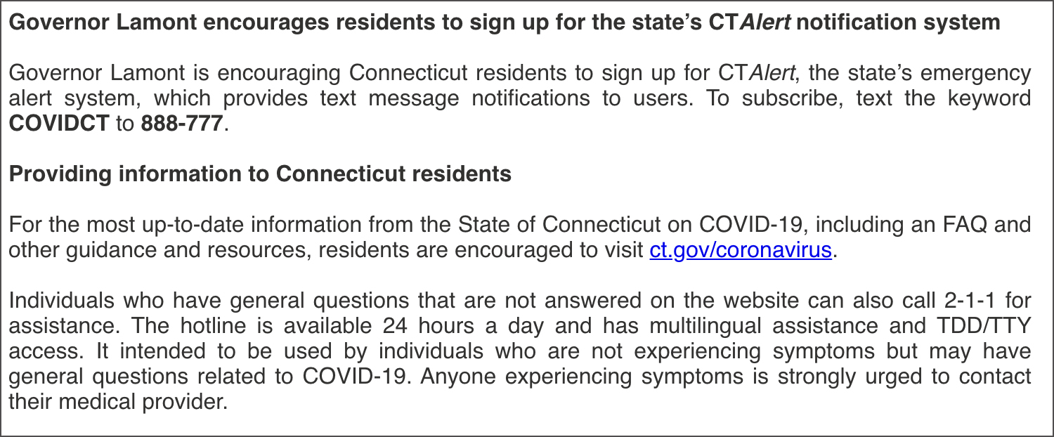 Sign up for CT Alerts