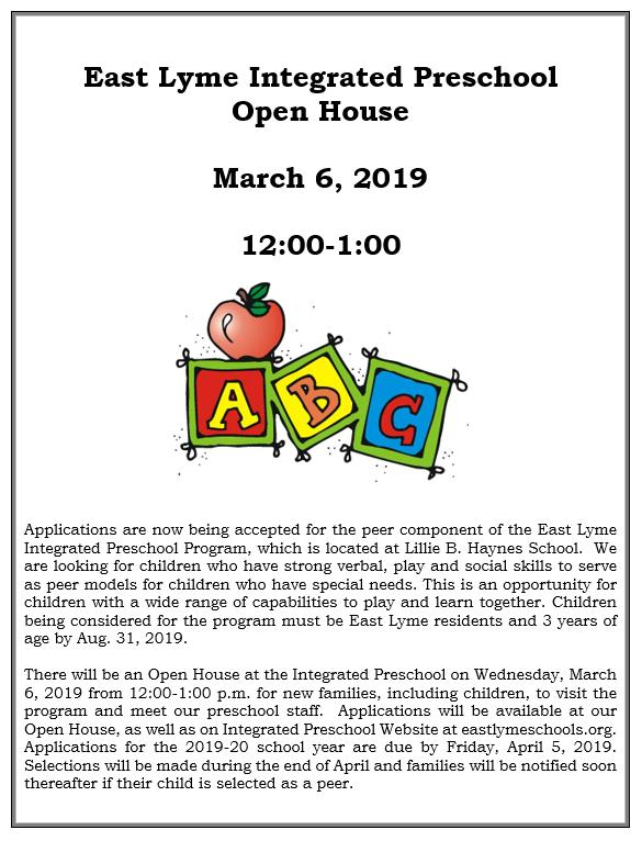 Integrated Preschool - East Lyme Public Schools