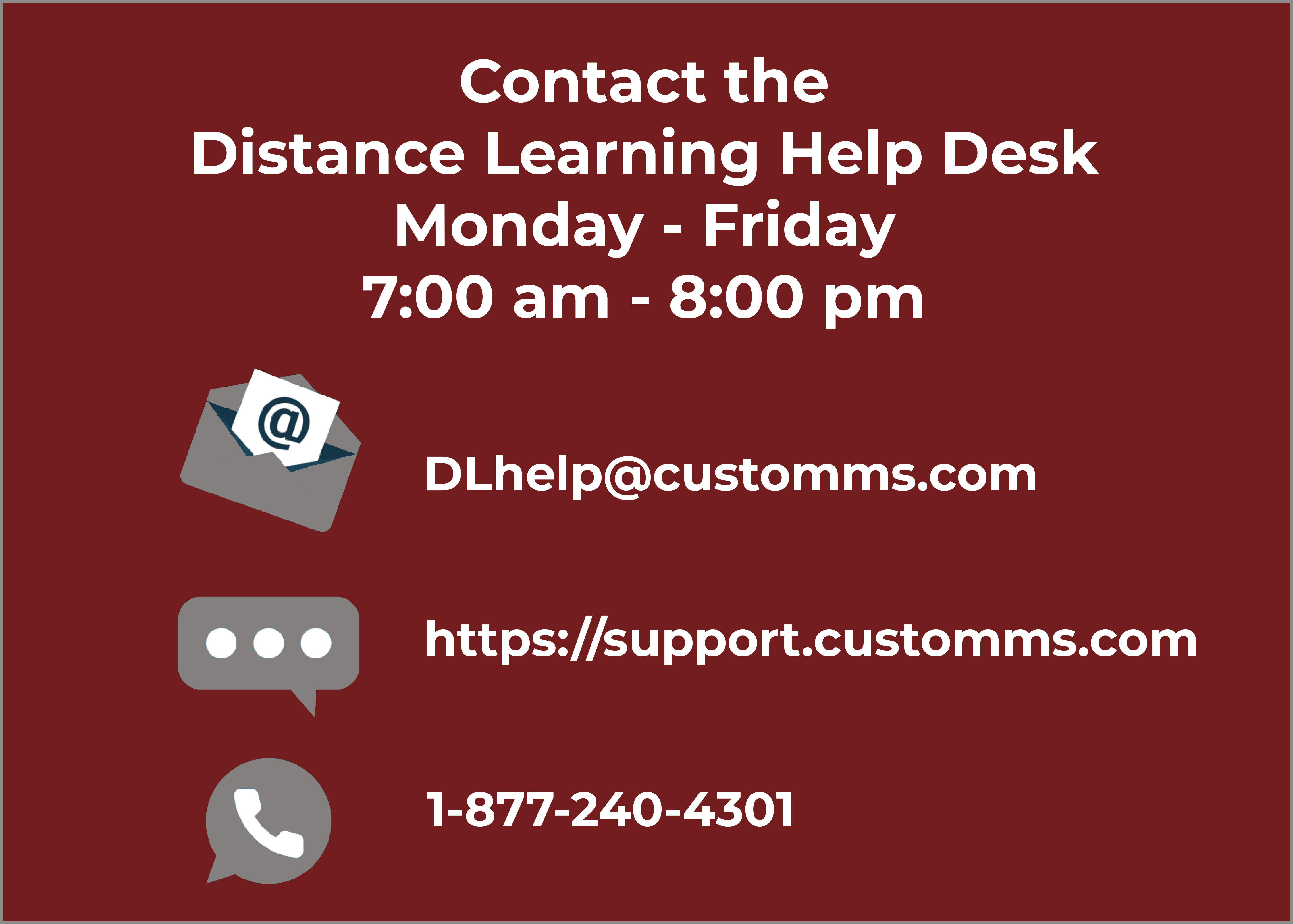 Distance Learning Help Desk Contact Information